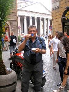 Fred savors world-class espresso at Casa del Café, by Rome's Pantheon, 2010
