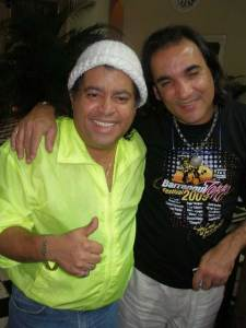 "Giovanni Hidalgo and ""El Negro"" Hernandez, drummers extraordinary, hug at Barranquilla Jazz Festival (Colombia, 2009)"